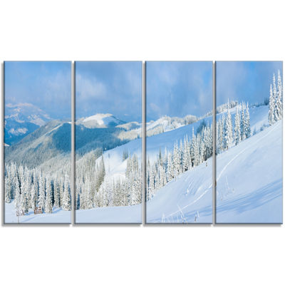 Designart Panoramic Winter Mountain Landscape Photography Canvas Print - 4 Panels