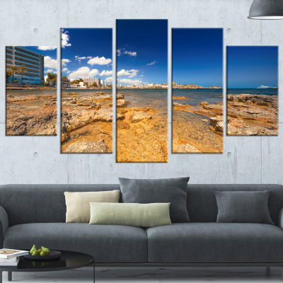 Designart Paradise Beach in Ibiza Island SeashorePhoto Canvas Art Print - 4 Panels