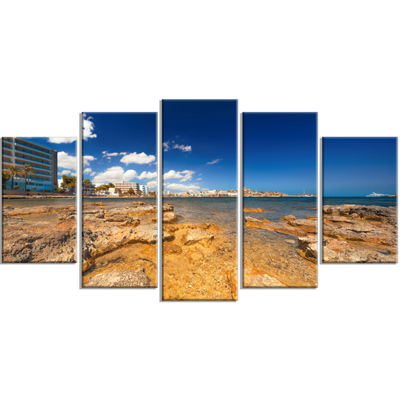 Designart Paradise Beach in Ibiza Island SeashorePhoto Canvas Art Print - 5 Panels