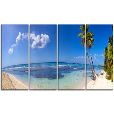 Designart Paradise Beach Panorama Landscape Photography Canvas Print - 4 Panels