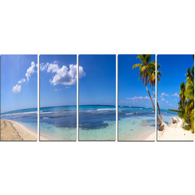 Designart Paradise Beach Panorama Landscape Photography Canvas Print - 5 Panels