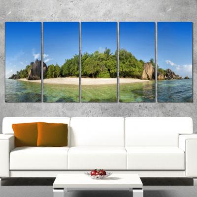 Designart Paradise on Earth Seychelles Island Large SeashoreWrapped Canvas Print - 5 Panels