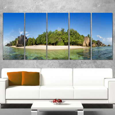 Designart Paradise on Earth Seychelles Island Large SeashoreCanvas Print - 5 Panels