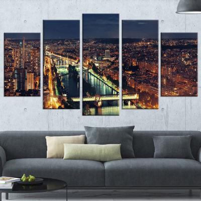 Designart Paris City Night Skyline Cityscape PhotoCanvas Art Print - 4 Panels