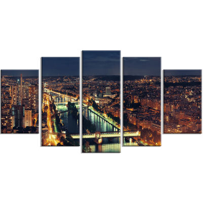 Paris City Night Skyline Large Cityscape Photo Canvas Art Print - 5 Panels