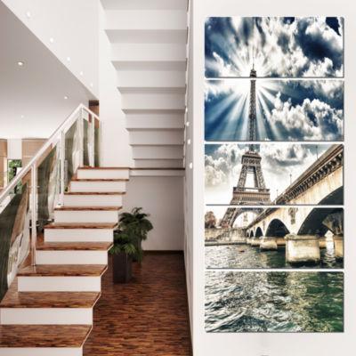 Paris Eiffel Towerand Iena Bridge Cityscape PhotoCanvas Art Print - 4 Panels