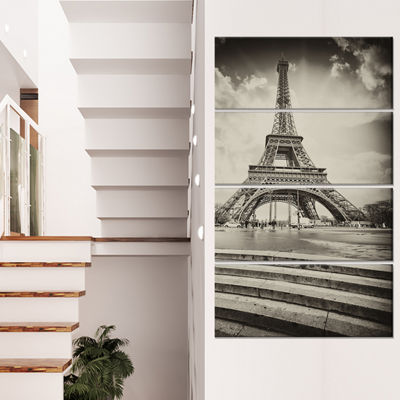 Designart Paris Eiffel Towerin Gray Shade Landscape Photo Canvas Art Print - 4 Panels