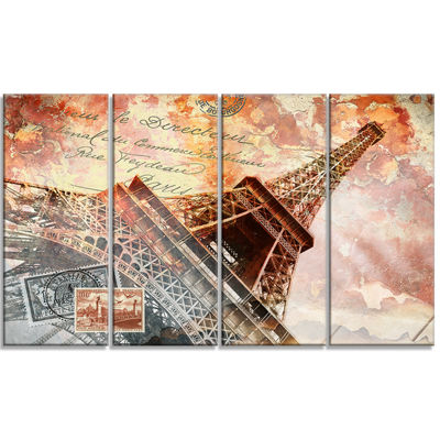 Designart Paris Eiffel Towerparis Contemporary Canvas Art Print - 4 Panels