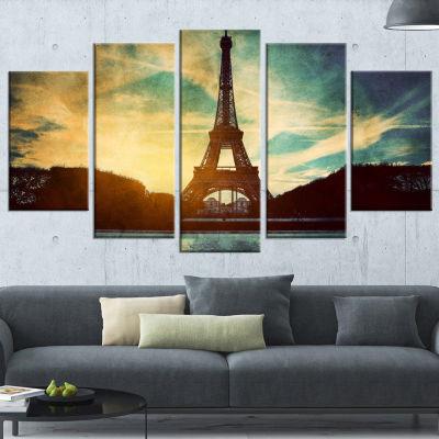 Designart Paris Eiffel Towerretro Style CityscapeCanvas Wall Art Print - 4 Panels