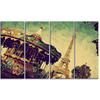 Designart Paris Eiffel Towerretro Style LandscapeArt PrintCanvas - 4 Panels