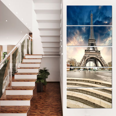 Designart Paris Eiffel Towerwith Stairs LandscapePhoto Canvas Art Print - 4 Panels