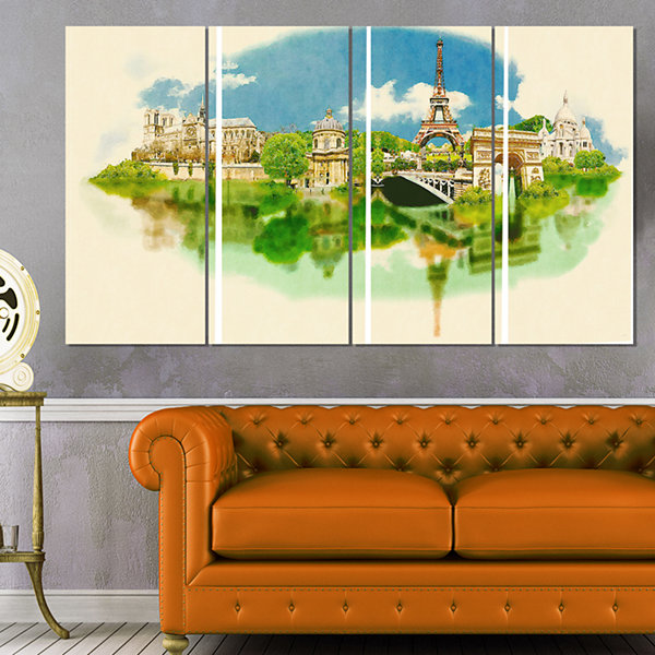 Designart Paris Panoramic View Cityscape Watercolor Canvas Print - 4 Panels