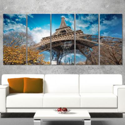 Designart Paris Paris Eiffel Towerand Blue Paris Sky View Cityscape Wrapped Canvas Print - 5 Panels