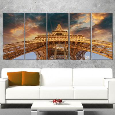 Paris Paris Eiffel Towerin Paris With Sunset Colors Cityscape Canvas Print - 4 Panels