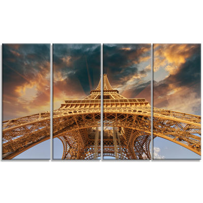 Designart Paris Paris Eiffel Towerin Paris With Sunset Colors Cityscape Canvas Print - 4 Panels