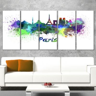 Designart Paris Skyline Cityscape Canvas Art Print- 5 Panels