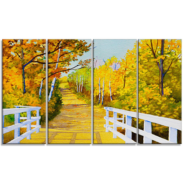 Designart Parkland Trails Photography Canvas Art Print - 4 Panels