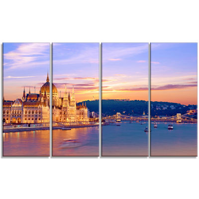 Designart Parliament and Bridge Over Danube Cityscape CanvasPrint - 4 Panels