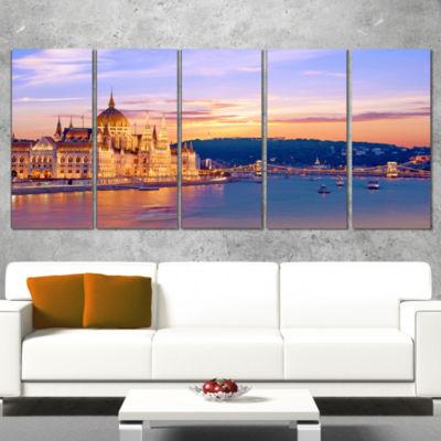 Designart Parliament and Bridge Over Danube Cityscape Wrapped Canvas Print - 5 Panels