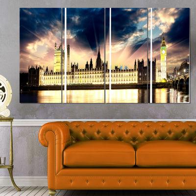 Designart Parliament At River Thames Cityscape Photography Canvas Print - 4 Panels