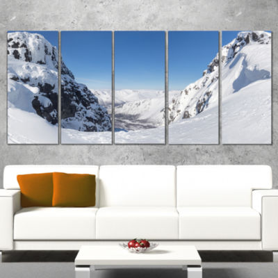 Designart Pass in The Northern Winter Hills Landscape Wrapped Canvas Art Print - 5 Panels