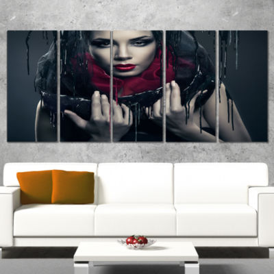 Designart Passionate Woman in Black Portrait Canvas Art Print - 4 Panels