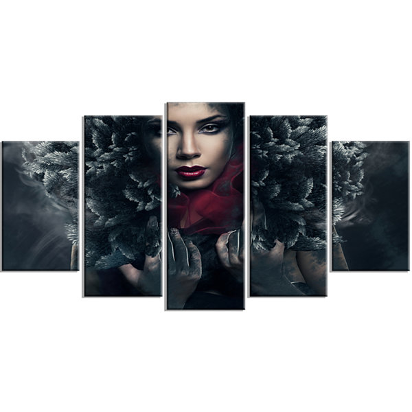 Designart Passionate Woman in Feather Hood Portrait WrappedCanvas Art Print - 5 Panels
