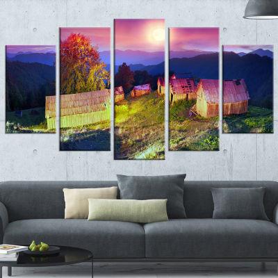 Pasture With Shepherds Houses Landscape Photography Canvas Print - 4 Panels