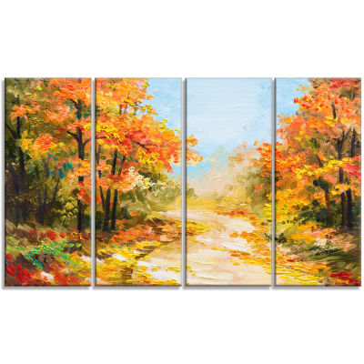Designart Path in Autumn Forest Landscape Art Print Canvas -4 Panels
