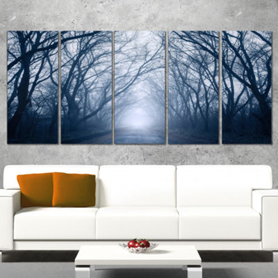 Designart Path in Dark Autumn Forest Landscape Photography Canvas Print - 4 Panels