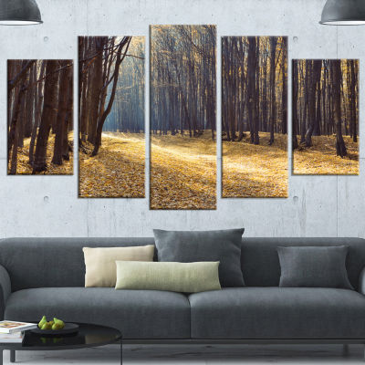 Designart Path in The Fall Forest Panorama ForestWrapped Canvas Art Print - 5 Panels