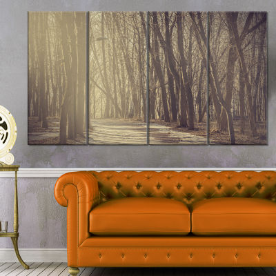 Path in The Foggy Fall Forest Modern Forest CanvasArt - 4 Panels