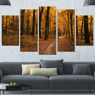 Designart Path in The Yellow Fall Forest Modern Forest Wrapped Canvas Art - 5 Panels