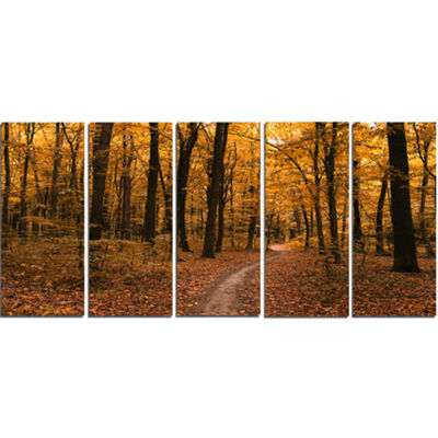 Designart Path in The Yellow Fall Forest Modern Forest Canvas Art - 5 Panels