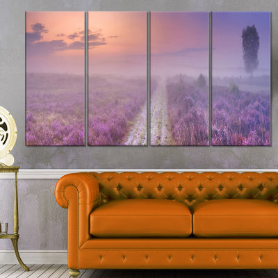Path Through Blooming Field Large Seascape Art Canvas Print - 4 Panels