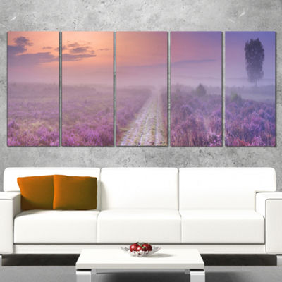 Designart Path Through Blooming Field Large Seascape Art Canvas Print - 4 Panels