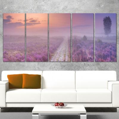 Designart Path Through Blooming Field Large Seascape Art Canvas Print - 5 Panels