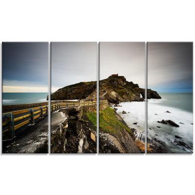 Designart Path To Cape and Chapel in Spain Seashore Photo Canvas Print - 4 Panels