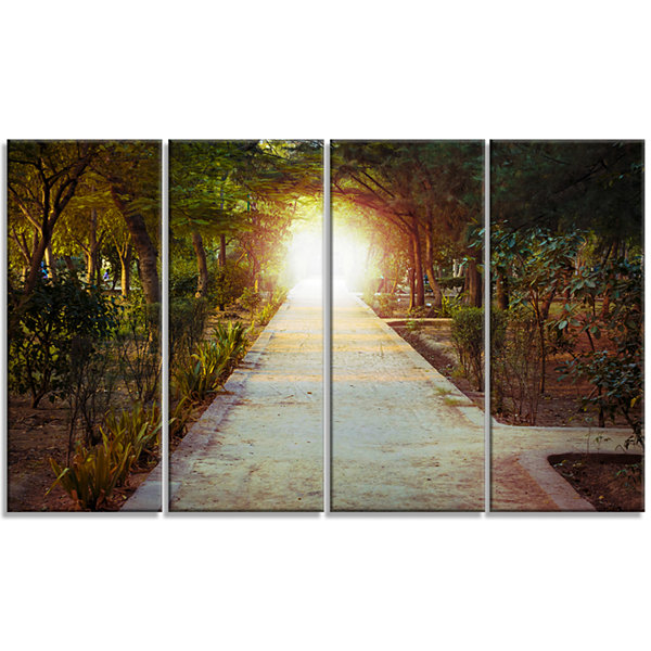 Designart Path To Magical Mystery Woods LandscapePhotography Canvas Print - 4 Panels