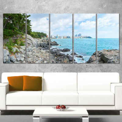 Designart Pathway Along The Coast of Dogbane Landscape PrintWall Artwork - 5 Panels