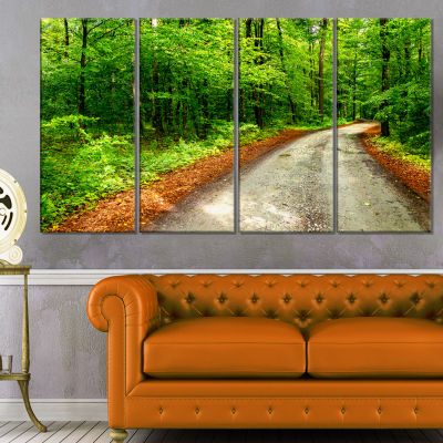 Pathway in Deep Moss Forest Landscape Canvas Art Print - 4 Panels