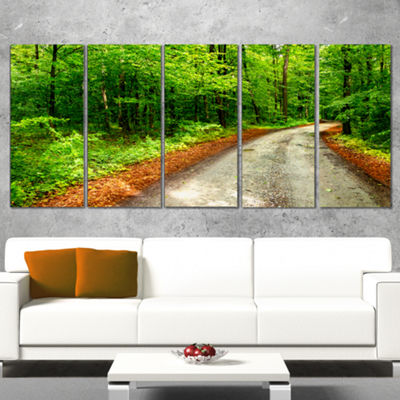 Designart Pathway in Deep Moss Forest Landscape Wrapped Canvas Art Print - 5 Panels