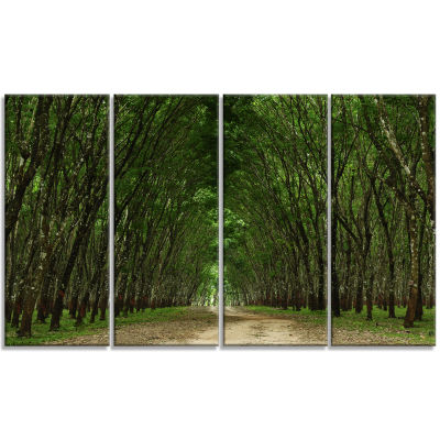 Designart Pathway in Thick Green Forest LandscapePhotography Canvas Print - 4 Panels