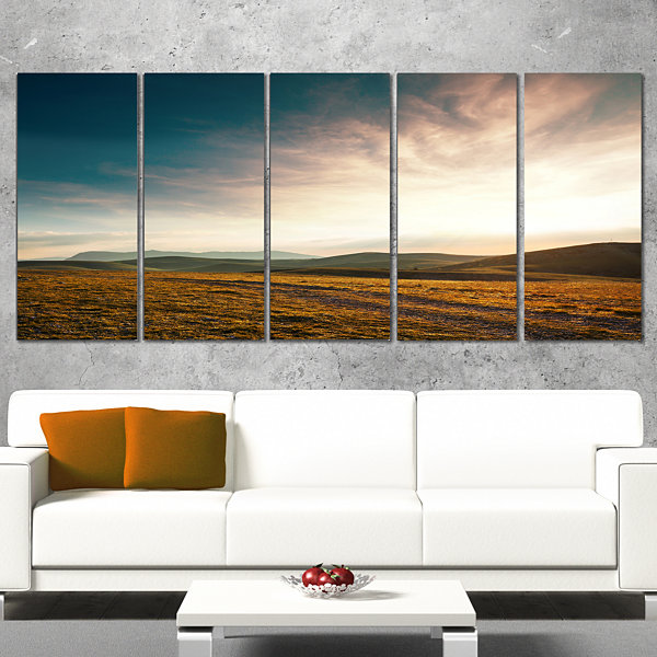 Designart Pathway Over Mountains At Sunset Oversized Landscape Canvas Art - 4 Panels