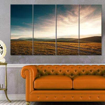 Pathway Over Mountains At Sunset Oversized Landscape Canvas Art - 4 Panels