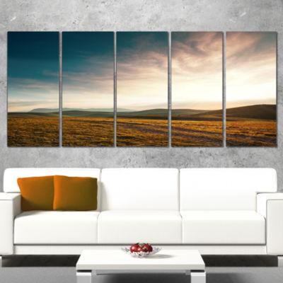 Designart Pathway Over Mountains At Sunset Oversized Landscape Wrapped Canvas Art - 5 Panels