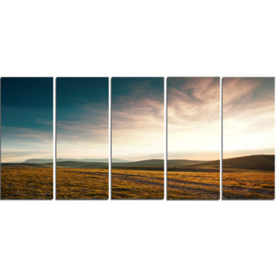 Pathway Over Mountains At Sunset Oversized Landscape Canvas Art - 5 Panels