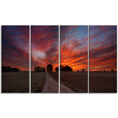 Designart Pathway To Fairy Autumn Sky Landscape Print Wall Artwork - 4 Panels