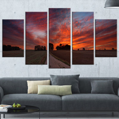 Pathway To Fairy Autumn Sky Landscape Print Wrapped Artwork - 5 Panels