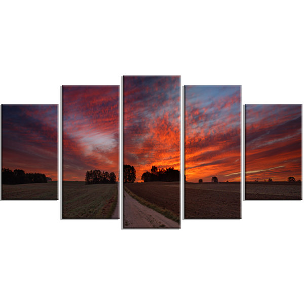 Designart Pathway To Fairy Autumn Sky Landscape Print Wrapped Artwork - 5 Panels
